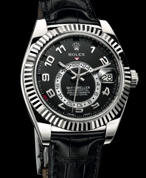 Rolex Oyster Perpetual Watches Sky-Dweller 326139A White Gold - Black Alligator Strap
