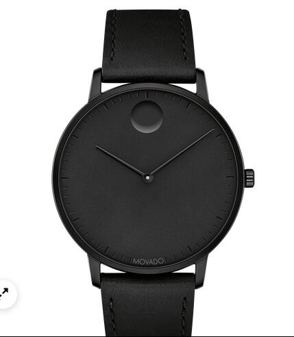 Movado Face Black Stainless Steel Watch With Black Leather Strap 3640002 Replica Watch Cheap Price