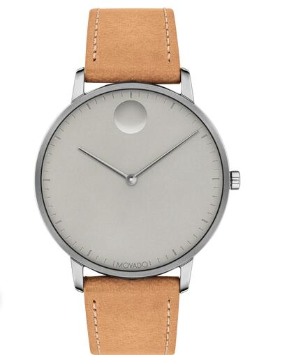 Movado Face Grey Stainless Steel Watch With Tan Leather Strap 3640003 Replica Watch Cheap Price