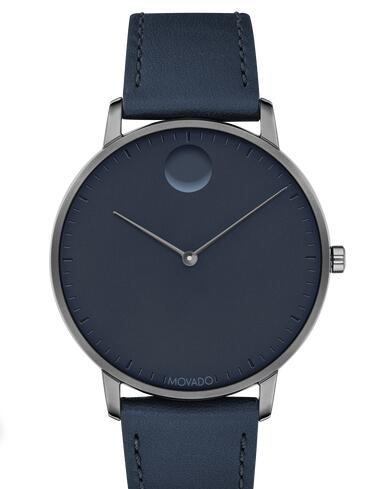 Movado Face Grey Stainless Steel Watch With Navy Leather Strap 3640004 Replica Watch Cheap Price