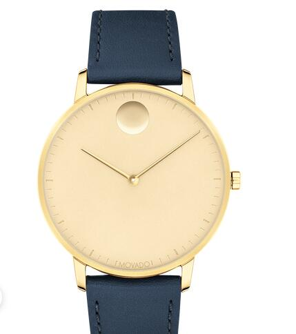 Movado Face Yellow Gold ion-plated Stainless Steel Watch With Navy Leather Strap 3640005 Replica Watch Cheap Price