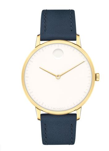 Movado Face Yellow Gold ion-plated Stainless Steel Watch With Navy Leather Strap 3640010 Replica Watch Cheap Price