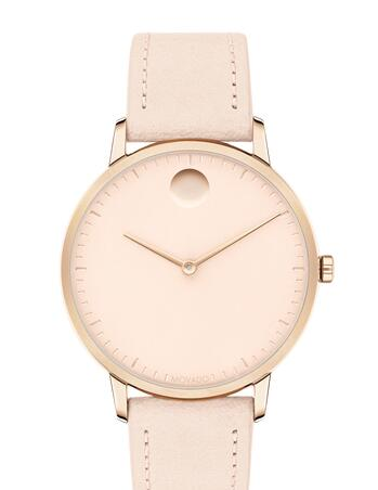 Movado Face Pale Rose Gold ion-plated Stainless Steel Watch With Pink Leather Strap 3640011 Replica Watch Cheap Price