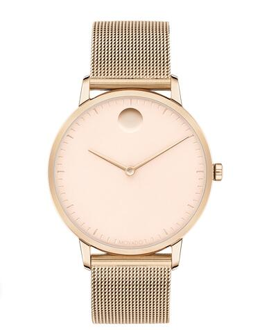 Movado Face Carnation gold ion-plated Stainless Steel Mesh Watch 3640016 Replica Watch Cheap Price