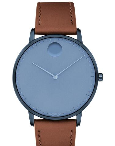 Movado Face blue watch with blue dial, blue accents and brown strap 3640032 Replica Watch Cheap Price