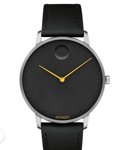 Movado Face grey watch with black dial, orange accents and black strap 3640033 Replica Watch Cheap Price