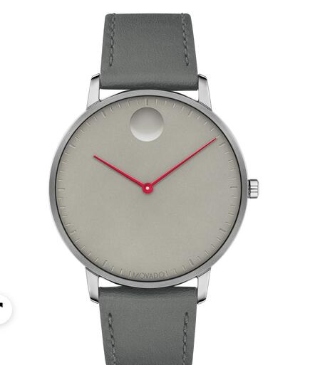 Movado Face grey watch with grey dial, red accents and grey strap 3640034 Replica Watch Cheap Price