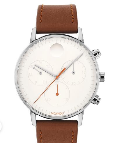 Movado Face stainless steel watch with white dial, dark orange accents and brown strap 3640037 Replica Watch Cheap Price