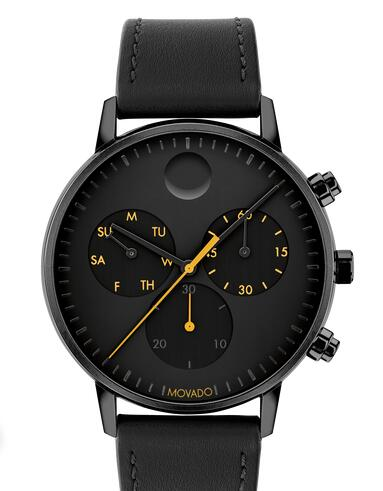 Movado Face black watch with black dial, yellow and orange accents and black strap 3640039 Replica Watch Cheap Price