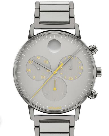 Movado Face grey watch with grey dial, yellow accents and grey bracelet 3640040 Replica Watch Cheap Price