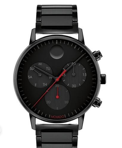 Movado Face black watch with black dial, red accents and black bracelet 3640041 Replica Watch Cheap Price