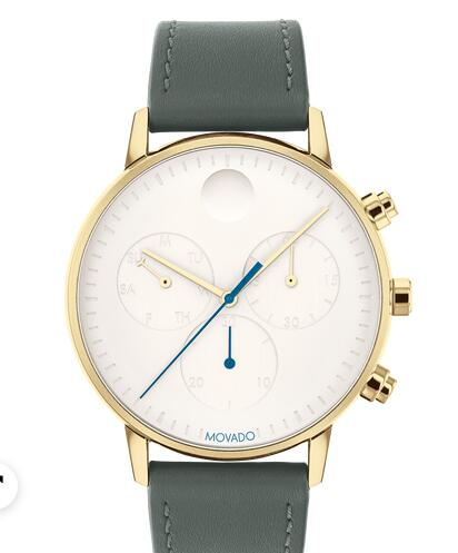 Movado Face pale yellow gold watch with white dial, blue accents and grey strap 3640043 Replica Watch Cheap Price