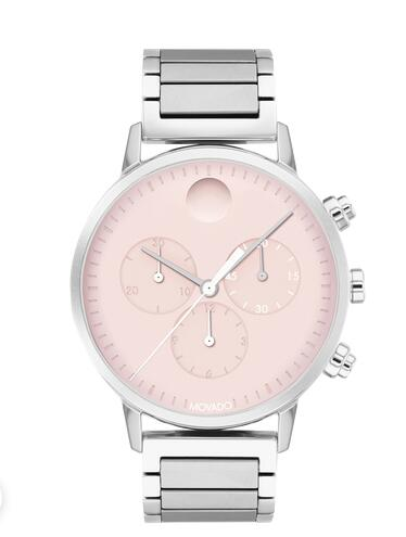 Movado Face stainless steel chronograph watch with pink dial, silver accents and bracelet 3640047 Replica Watch Cheap Price