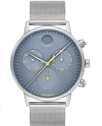 Movado Face Stainless Steel Chronograph Mesh Watch With Blue Dial 3640050 Replica Watch Cheap Price
