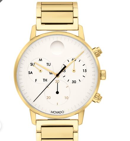 Movado Face Gold Chronograph Watch With White Dial 3640053 Replica Watch Cheap Price