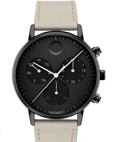 Movado Face Grey Leather Strap Chronoraph Watch With Black Dial 3640055 Replica Watch Cheap Price