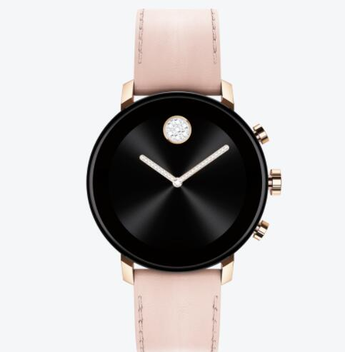Replica Movado Connect 2.0 pale rose gold smart watch with pink leather strap 3660023