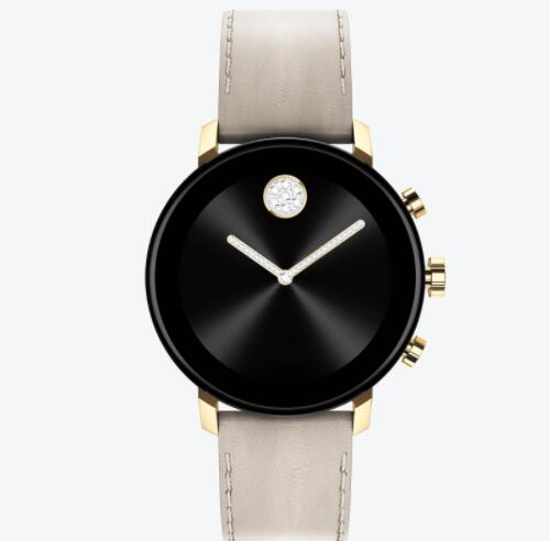Replica Movado Connect 2.0 pale gold smart watch with grey leather strap 3660024
