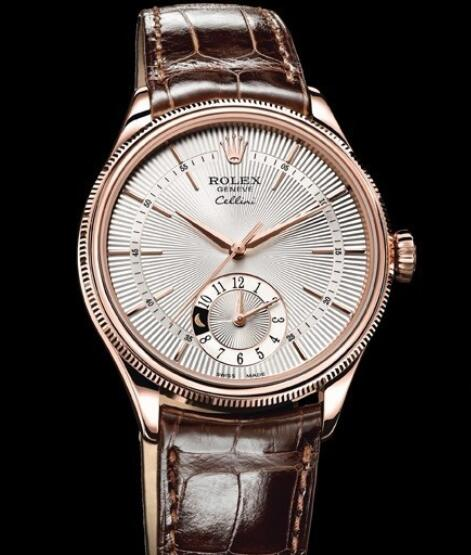 Rolex Cellini Watch Replica Cellini Dual Time 50525 Everose Gold - Silver Dial - Alligator Strap