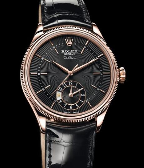 Rolex Cellini Watch Replica Cellini Dual Time 50525 Everose gold - Black Dial - Alligator Strap