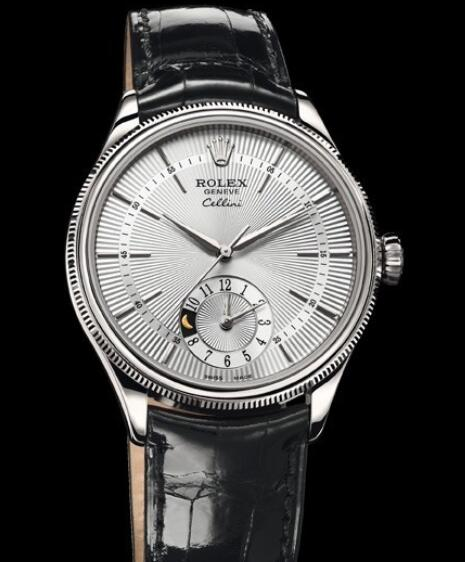 Rolex Cellini Watch Replica Cellini Dual Time 50529 White Gold - Silver Dial - Alligator Strap