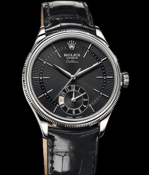 Rolex Cellini Watch Replica Cellini Dual Time 50529 White Gold - Black Dial - Alligator Strap