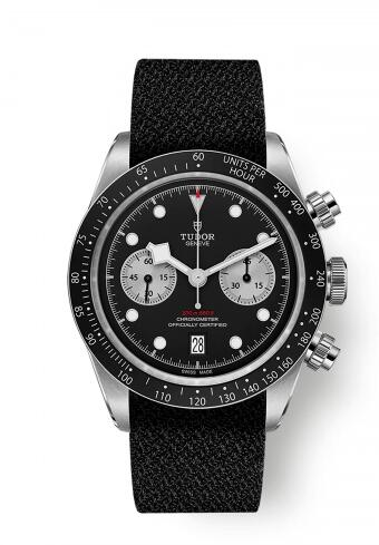 Tudor Heritage Black Bay Black Chronograph Inverted Panda Fabric Replica Watch 79360N-0007