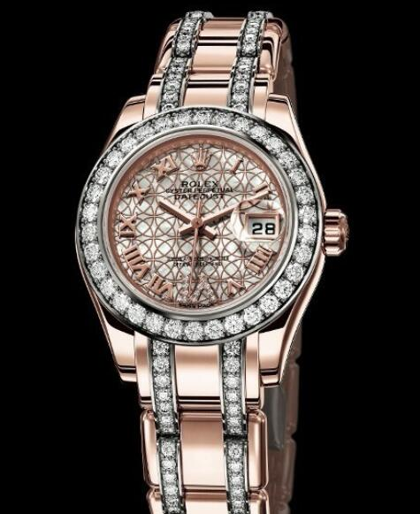 Replica Rolex Watch Rolex Lady-Datejust Pearlmaster Oyster Perpetual 80285 Everose Gold - Diamonds - White Mother-of-Pearl - Set Bracelet