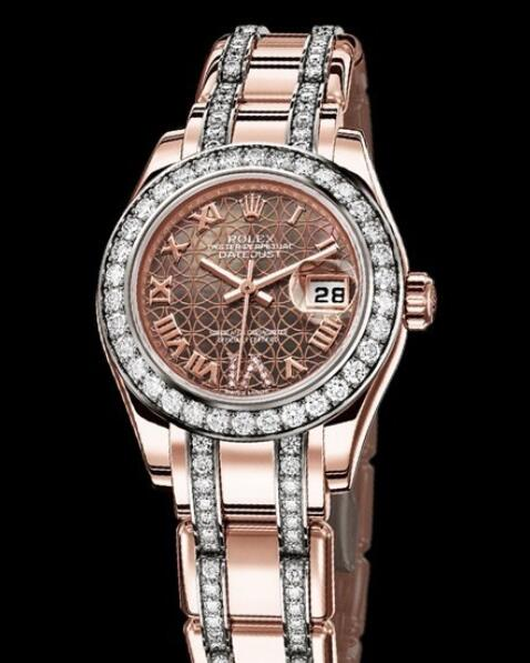 Replica Rolex Watch Rolex Lady-Datejust Pearlmaster Oyster Perpetual 80285 Everose Gold - Diamonds - Black Mother-of-Pearl