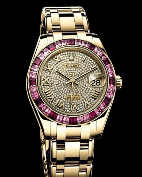 Replica Rolex Watch Rolex Datejust Pearlmaster 34 Oyster Perpetual 81348 SARO - 72848 Yellow Gold - Diamonds and Sapphires