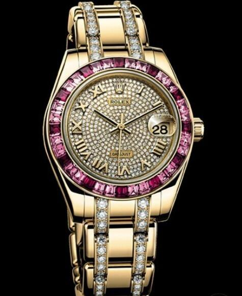 Replica Rolex Watch Rolex Datejust Pearlmaster 34 Oyster Perpetual 81348 SARO - 74868 Yellow Gold - Diamonds and Sapphires
