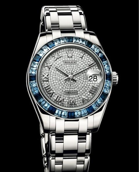 Replica Rolex Watch Rolex Datejust Pearlmaster 34 Oyster Perpetual 81349 SA - 72849 White Gold - Diamonds and Sapphires