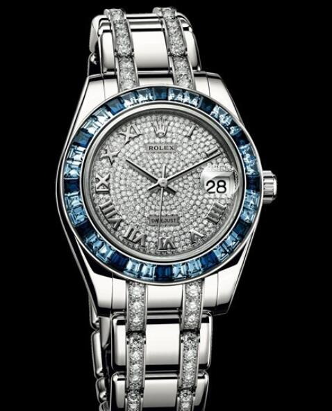 Replica Rolex Watch Rolex Datejust Pearlmaster 34 Oyster Perpetual 81349 SA - 72869 White Gold - Diamonds and Sapphires