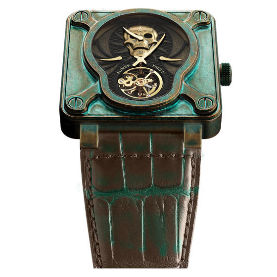 BELL & ROSS Watches Replica BR 01 SKULL BRONZE TOURBILLON BR0192-SKULL-BR