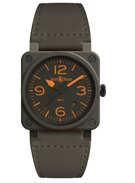 Fake Bell and Ross BR 03-92 MA-1 BR0392-KAO-CE/SCA Calfskin black watch