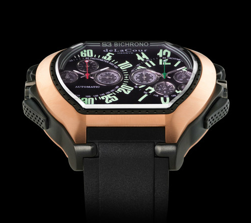 Replica DeLaCour BiChrono S3 Titanium PVD Gold Replica Watch