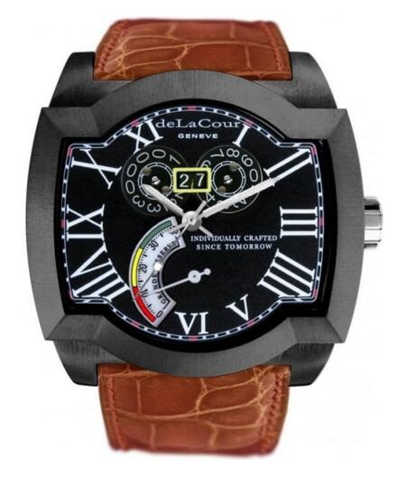 Luxury Replica DeLaCour SAQRA GRANDE RESERVE STEEL PVD BLACK WAST2274-0974 watch