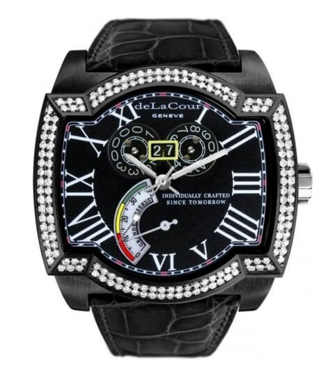 Luxury Replica DeLaCour SAQRA GRANDE RESERVE STEEL PVD DIAMOND BEZEL BLACK watch WAST2275-0974
