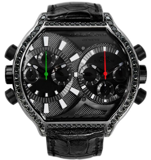 Luxury Replica DELACOUR BICHRONO S2 TECH BLACK STEEL watch WAST2631-1417