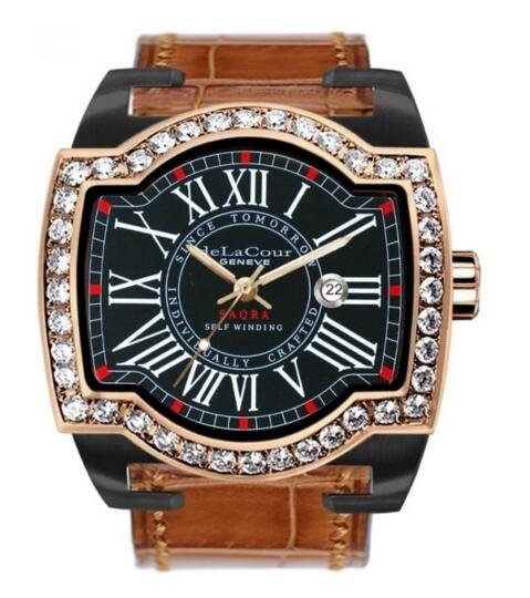 Luxruy replica DeLaCour SAQRA EGO CLASSIC TI / PVD / ROSE GOLD DIAMOND BEZEL watch WATP0057-0973