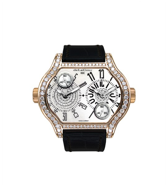 Replica DeLaCour City 2 Rose Gold MOP Full Diamond Case WAPG0134-0777-White Replica Watch