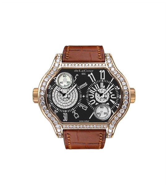 Replica DeLaCour City 2 Rose Gold Black Full Diamond Case WAPG0134-1096 Replica Watch