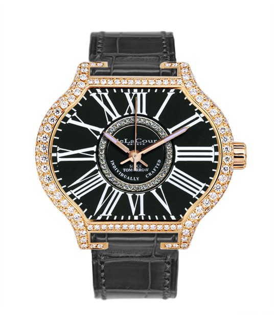 Replica DeLaCour City Attitiude Classic Rose Gold Black Full Diamond WAPG0350-1256BLACK Replica Watch