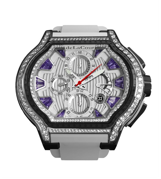 Replica DeLaCour City Ego Episode W Ti/PVD/Amethyst Dial/Diamond Bezel WATI0056-1430PURPLE Replica Watch