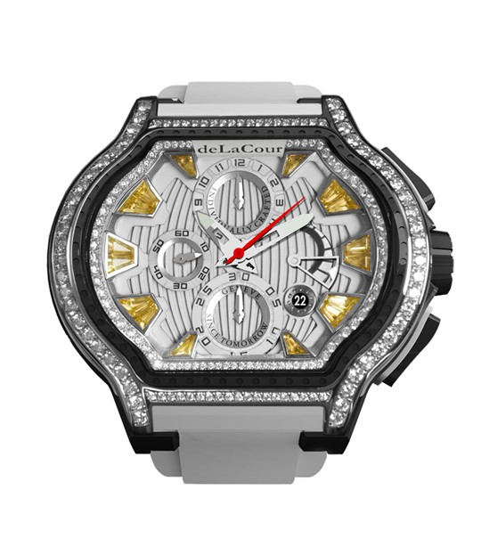 Replica DeLaCour City Ego Episode W Ti/PVD/Citrine Dial/Diamond Bezel WATI0056-1430YELLOW Replica Watch