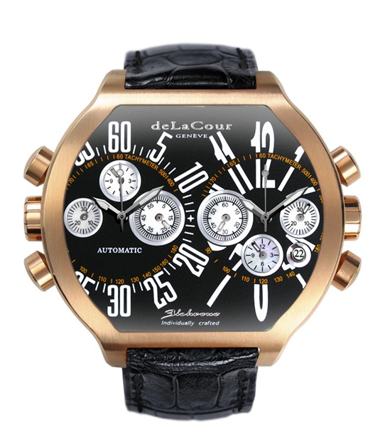 Replica DeLaCour BiChrono S2 Rose Gold Black and White WAPG0158-0979 Replica Watch
