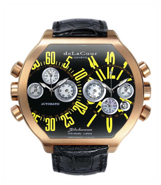 Replica DeLaCour BiChrono S2 Rose Gold Black and Yellow WAPG0158-0980 Replica Watch