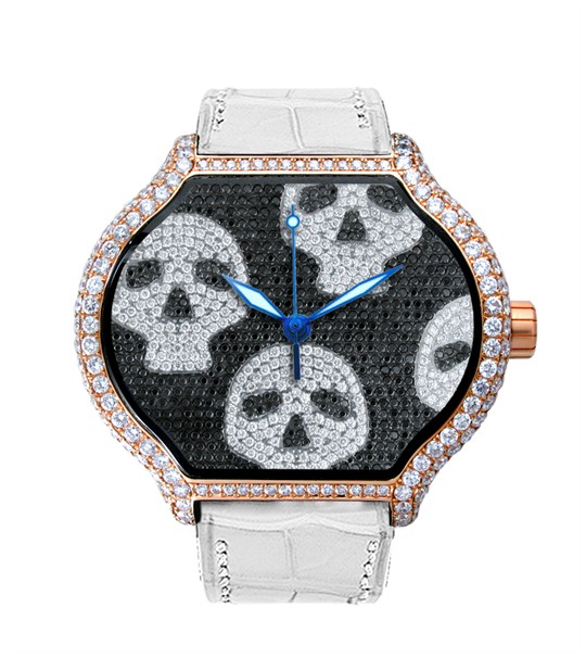Replica DeLaCour City Medium Heart Rider Skulls Rose Gold Full Diamond WAPG0256-1008 Replica Watch