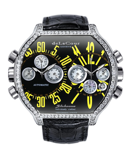 Replica DeLaCour BiChrono S2 Steel Diamond Bezel Black and Yellow WAST2130-0980 Replica Watch