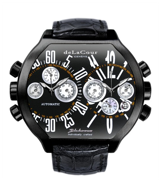 Replica DeLaCour BiChrono S2 Steel PVD Black and White WAST2236-0979 Replica Watch